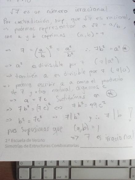 Ejercicio de mostrar que raiz de 7 no es racional