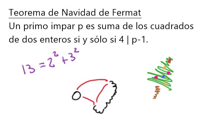 Enunciado del teorema de Navidad de Fermat