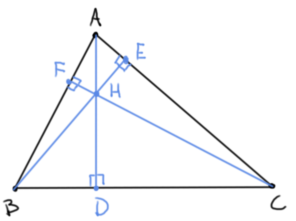 Alturas de un triángulo y su ortocentro