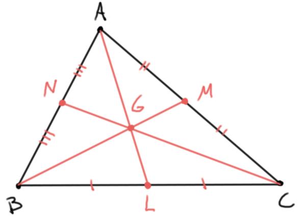 Medianas de un triángulo y su gravicentro