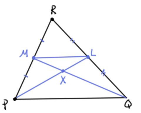 El gravicentro está a un tercio del punto medio hacia el vértice correspondiente