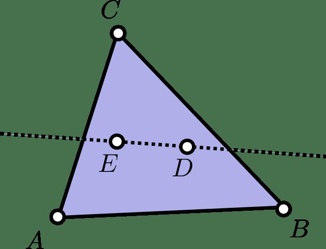 Caso con tres puntos en la envolvente convexa